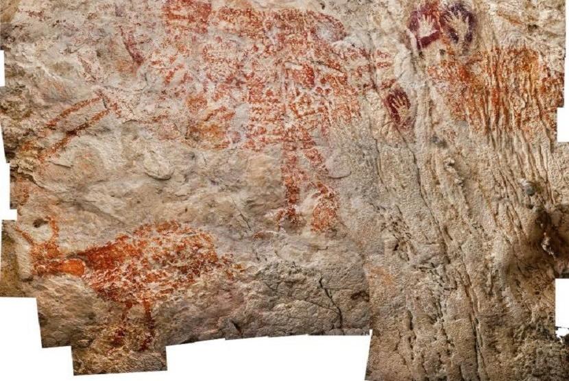Lukisan mirip binatang dan telapak tangan ini ditemukan di Lubang Jeriji Saleh. Dengan usia hingga 40 ribu, lukisan di Kalimantan ini diyakini yang tertua di dunia