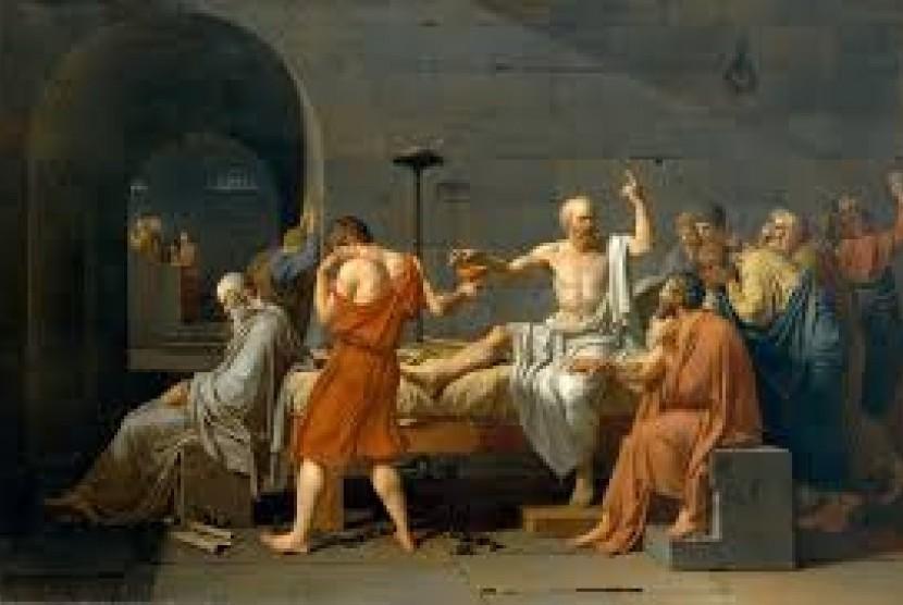 Lukisan Socrates yang tengah dihukum minum racun.