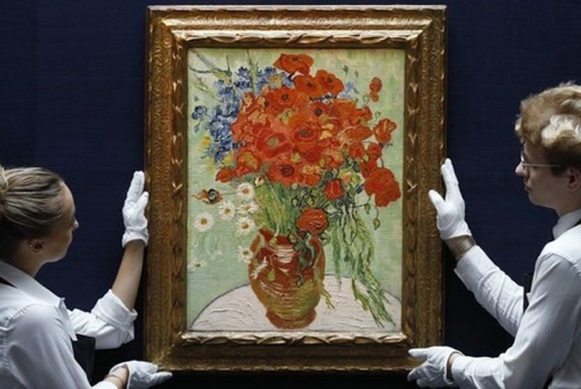 "Lukisan van Gogh bertajuk ""Still Life, Vase With Daisies and Poppies""."