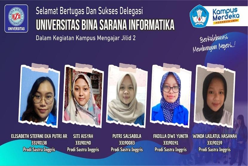 Mahasiswa Universitas BSI  (Bina Sarana Informatika) lolos dalam program Aksi Mengajar Jilid 2. Program yang digulirkan oleh Kementrian Pendidikan, kebudayaan riset dan teknologi (Kemendikbudristek) berhasil mengantarkan dosen dan mahasiswa Universitas BSI dalam Aksi mengajar tahun 2021.