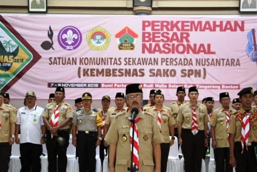 Majelis Pembina Satuan Komunitas Nasional Sekawan Persada Nusantara Prasetyo Sunaryo saat membuka Kembesnas Sako SPN 2018
