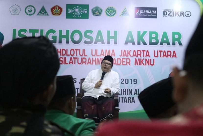 Majlis Ulama & Umara Nusantara (Maulana) menggelar Istighotsah Akbar bersama warga Nahdlatul Ulama Jakarta Utara dan silaturrahmi kader MKNU di Pondok Pesantren Asholihinal Abror, Rorotan, Jakarta Utara, Kamis, (7/2).