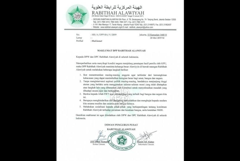 Maklumat Rabithah Alawiyah