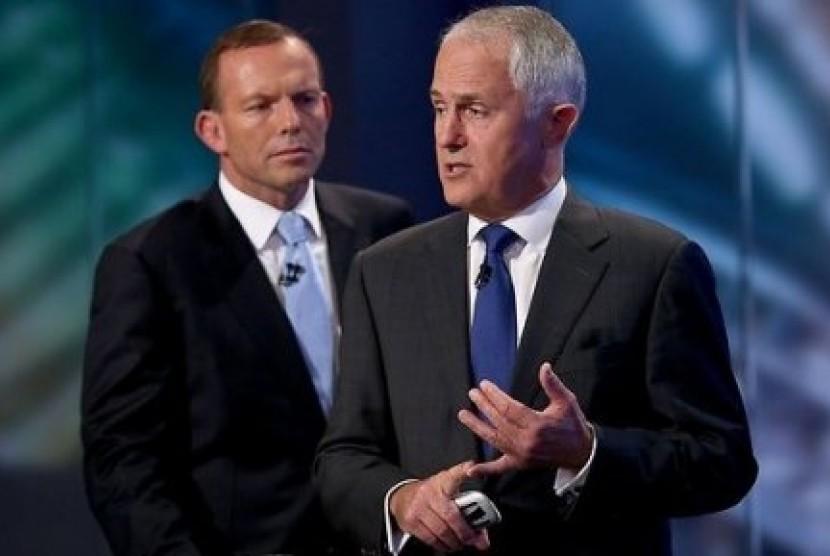 Tony Abbott dan PM Australia Malcolm Turnbull.