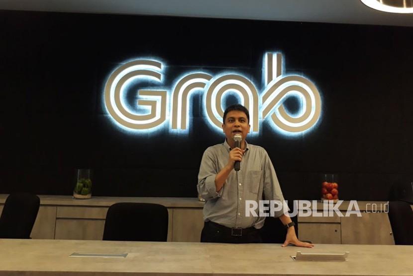 Managing DirectorGrab Indonesia Ridzki Kramadibrata dalam media briefing di Kantor Grab Kuningan Jakarta Selatan, Jumat (6/4).