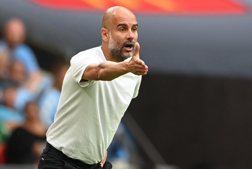 Pelatih Manchester City Pep Guardiola.