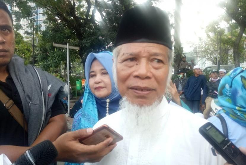 Mantan penasehat KPK dan juga koordinator lapangan (korlap) aksi massa, Abdullah Hehamahua, saat ditemui di kawasan patung kuda, Jalan Medan Merdeka Barat, Jakarta Pusat, Selasa (18/6).