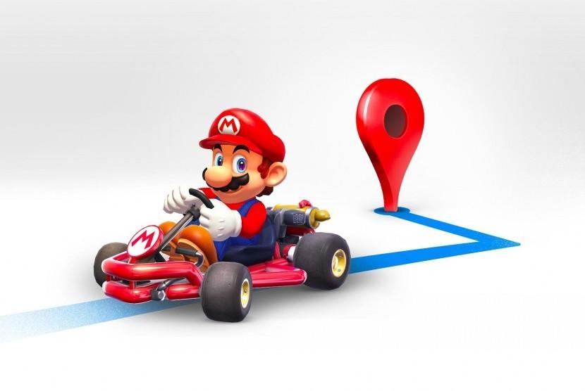 Mario Time di Google Maps. Ilustrasi