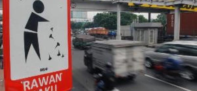 Marka ranjau paku di jalan raya, ilustrasi