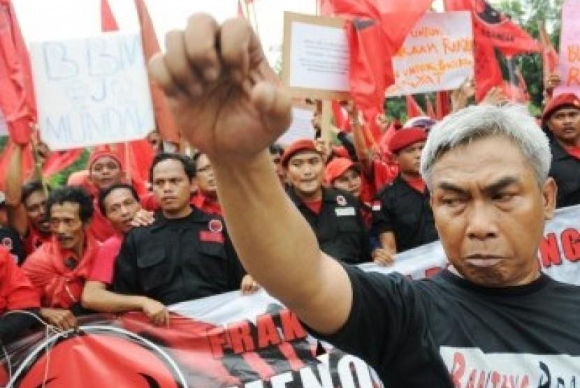[ilustrasi] Massa simpatisan Partai Demnokrasi Indonesia Perjuangan (PDIP).