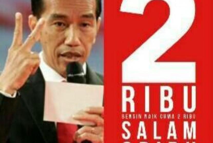 Meme sindiran tentang kebijakan kenaikan harga BBM oleh Presiden Jokowi