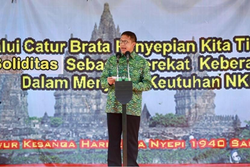 Menag Tengah Berikan Sambutan Ritual Upacara Tawur Agung Kesanga di Candi Prambanan, Jumat (16/3).