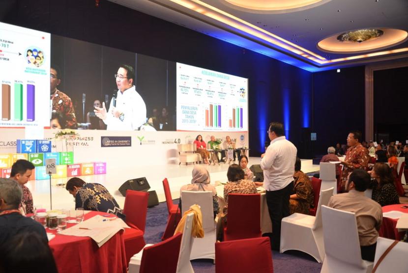 """Mendes PDTT Eko Putro Sandjojo dalam Workshop  Pengawasan Program Inovasi Desa dengan tema """"Pengawasan Program Inovasi Desa dalam rangka meningkatkan efektivitas pemanfaatan Dana Desa"""" di Hotel Sultan Jakarta pada Kamis (4/7)."""