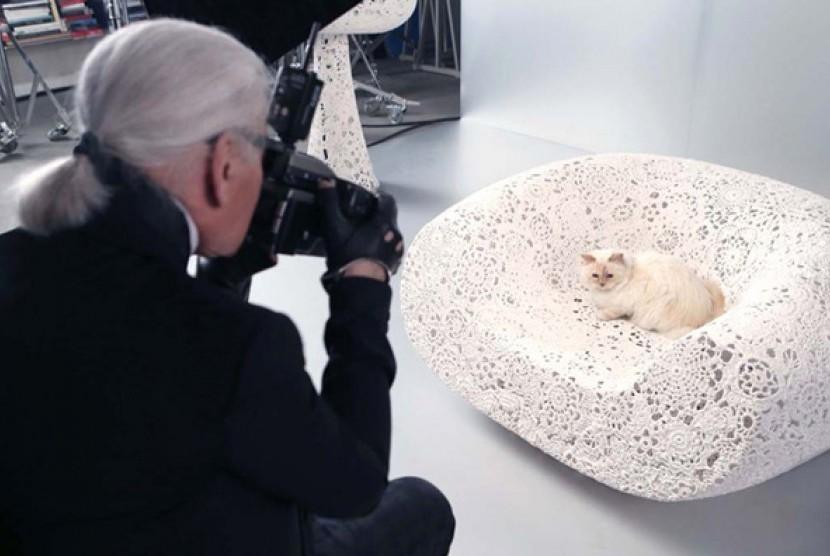 Mendiang desainer Karl Lagerfeld dan kucingnya Choupette.