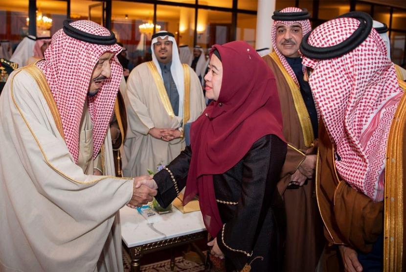 Menko PMK Puan Maharani bertemu Raja Salman Abdulaziz Al Saud.