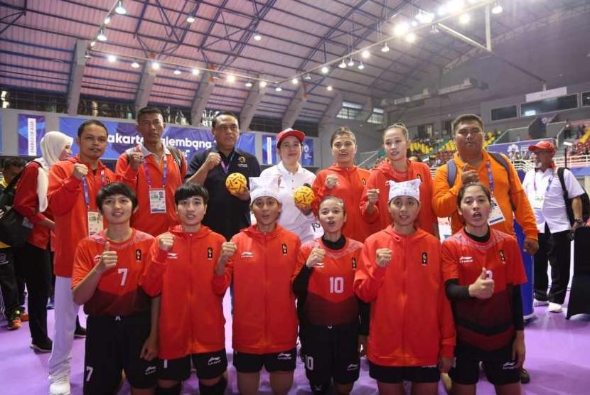 Menko PMK Puan Maharani menyambangi arena Asian Games 2018 di Komplek Olahraga Jakabaring, Palembang, Sumsel, Selasa (21/8) pagi.