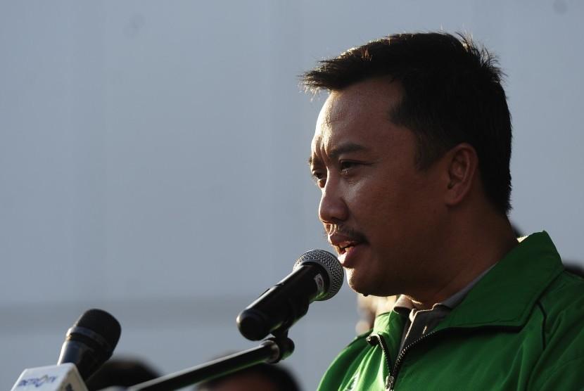 Menpora Imam Nahrawi memberikan keterangan di Kantor Kemenpora, Jakarta, Jumat (26/2).