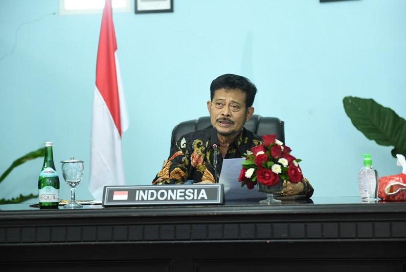 Mentan Syahrul Yasin Limpo pada virtual meeting Tingkat Menteri ke-35 Konferensi Regional FAO untuk wilayah Asia Pasifik, Rabu(3/9). Mentan menyebut komitmen pemerintah Indonesia mendorong peran pertanian