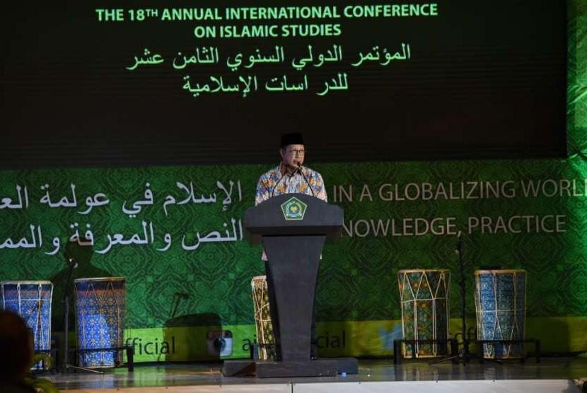 Menteri Agama, Lukman Hakim Saifuddin membuka acara The 18th Annual International Conference on Islamic Studies (AICIS) 2018 di Hotel Mercure, Kota Palu, Sulawesi Tengah, Selasa (18/9).