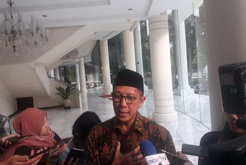 Menteri Agama Lukman Hakim Saifuddin saat ditemui wartawan di Kantor Wakil Presiden, Jakarta, Selasa (7/5).
