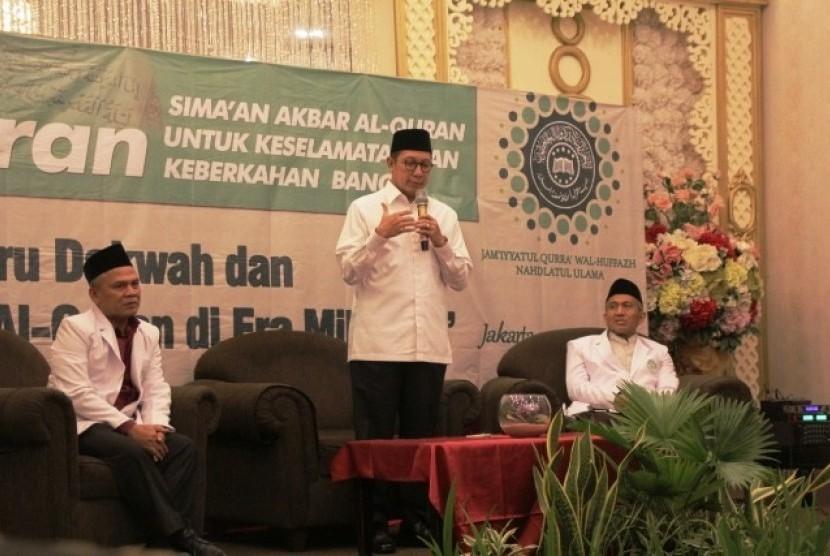 Menteri Agama Lukman Hakim Saifuddin saat membuka Konferensi Alquran Jam'iyyayul Qurra' wal Huffadz JQH-NU di Hotel Sriwijaya Jakarta, Senin (20/5).