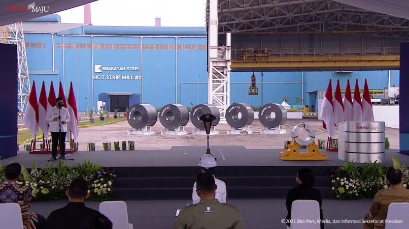 Menteri Badan Usaha Milik Negara (BUMN) Erick Thohir dalam peresmian pabrik industri baja PT Krakatau Steel di Kota Cilegon, Banten, Selasa (21/9).