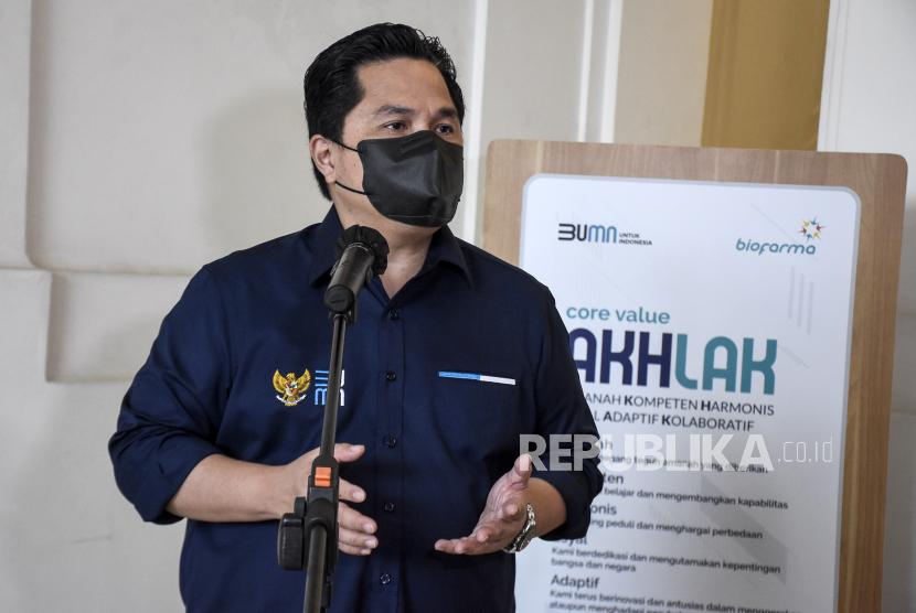 Menteri Badan Usaha Milik Negara (BUMN) Erick Thohir. Erick optimistis holding jasa survei Indonesia bisa jadi top 5 di Asia Pasifik.