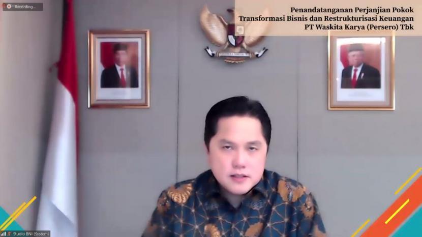 Menteri BUMN, Erick Thohir, bersilaturahim virtual dengan pegawai KBUMN yang tengah isoman