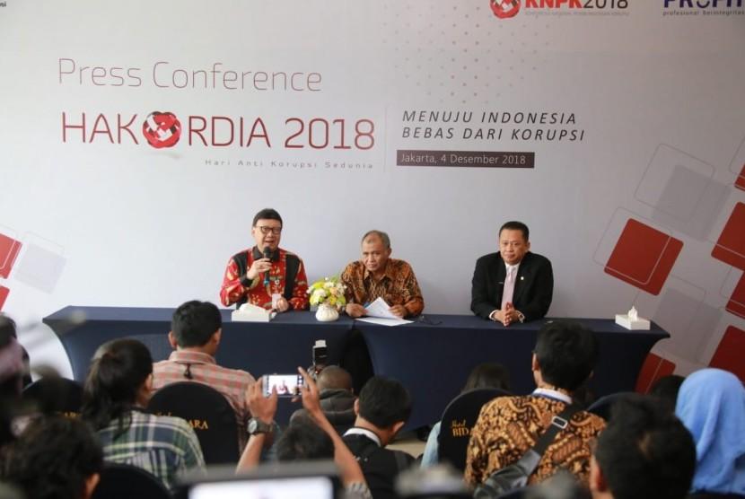 Menteri Dalam Negeri (Mendagri) Tjahjo saat menghadiri peringatan Hari Antikorupsi Sedunia (Hakordia) 2018 di Hotel Bidakara, Jakarta (4/12)