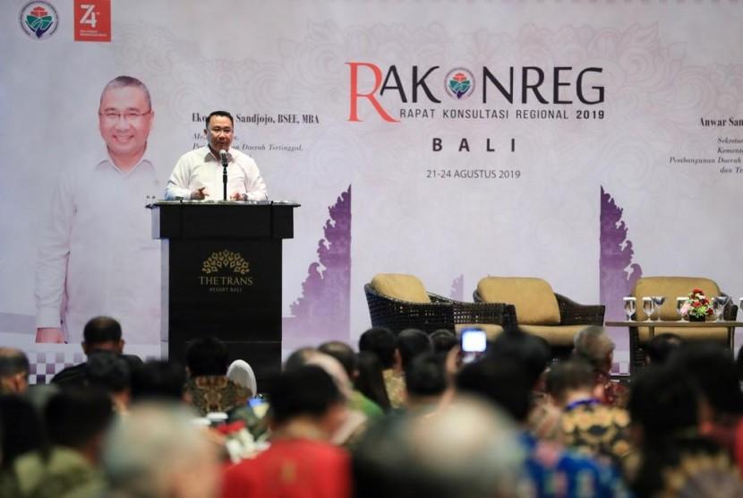 Menteri Desa, PDT dan Transmigrasi, Eko Putro Sandjojo membuka acara Rapat Konsultasi Regional (Rakonreg) tahun 2019 di Bali pada kamis (22/8/19)