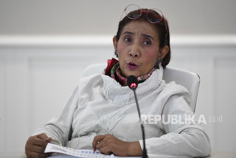 Menteri Kelautan dan Perikanan Susi Pudjiastuti menyampaikan pencapaian kinerja dan pengawasan Laut Natuna Utara di Jakarta, Senin (9/9/2019).