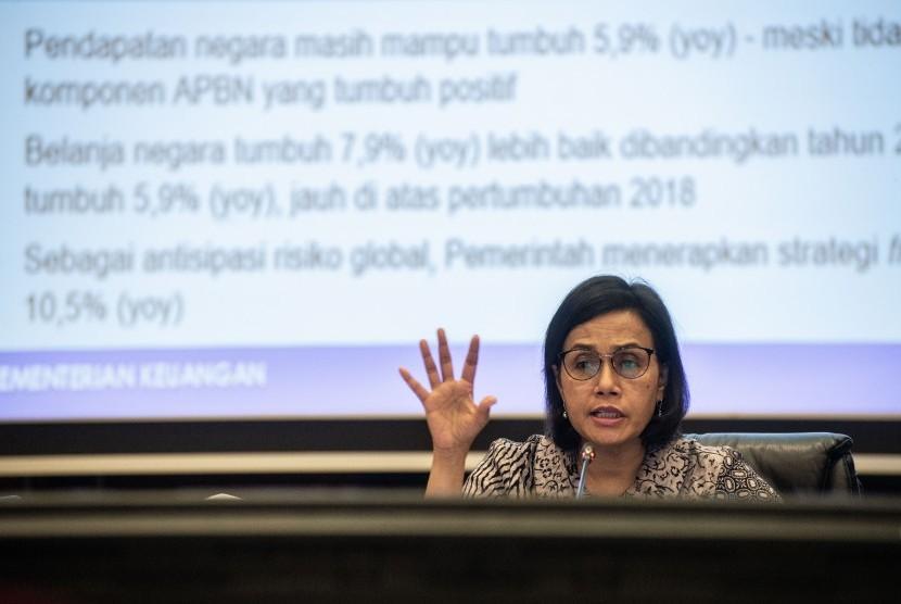Menteri Keuangan Sri Mulyani memberikan keterangan pers APBN KiTa di Kantor Kemenkeu, Jakarta, Senin (26/8/2019).