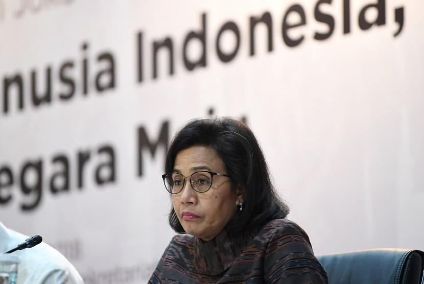 Menteri Keuangan Sri Mulyani menjadi pembicara pada Forum Merdeka Barat (FMB) 9 di Gedung Kementerian Sekretariat Negara, Jakarta, Selasa (23/10/2018).