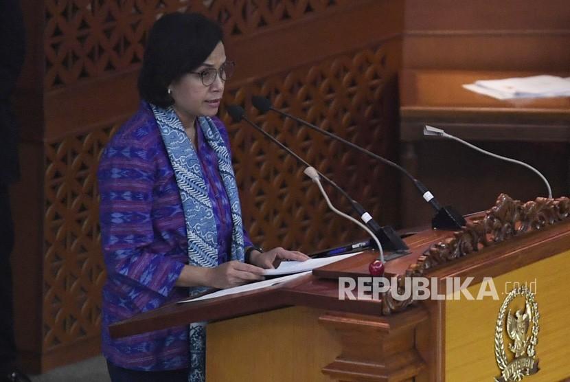 Menteri Keuangan Sri Mulyani menyampaikan Kerangka Ekonomi Makro (KEM) dan Pokok-Pokok Kebijakan Fiskal (PPKF) Rancangan Anggaran Pendapatan dan Belanja Negara Tahun Anggaran 2020 dalam Sidang Paripurna DPR di Gedung Nusantara II Kompleks Parlemen Senayan, Jakarta, Senin (20/5/19).