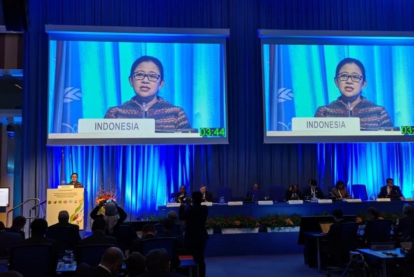 Menteri Koordinator Pembangunan Manusia dan Kebudayaan (Menko PMK) Puan Maharani dalam pidato di acara Konferensi Tingkat Menteri tentang Ilmu dan Teknologi Nuklir yang diselenggarakan IAEA di Wina, Austria, 28-30 November 2018.