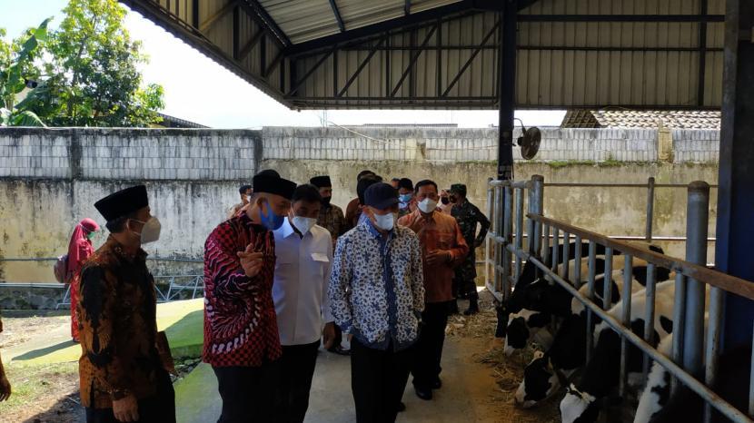 Menteri Koperasi dan UKM, Teten Masduki, mengunjungi Koperasi Sinau Andhandani Ekonomi (SAE) di Kecamatan Pujon, Kabupaten Malang, Jumat (16/4).