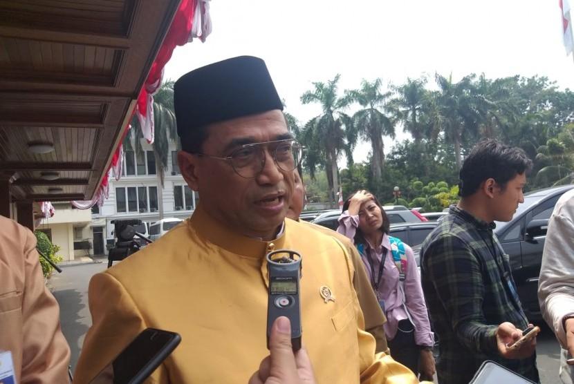 Menteri Perhubungan Budi Karya Sumadi di Gedung Kemenkopolhukam, Jakarta Pusat, Selasa (3/9).