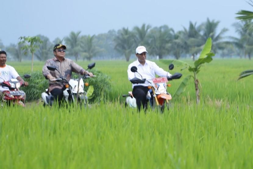 Menteri Pertanian Amran Sulaiman melakukan kunjungan ke warga Desa Telang Rejo, Kecamatan Telang Rejo, Kabupaten Banyuasin