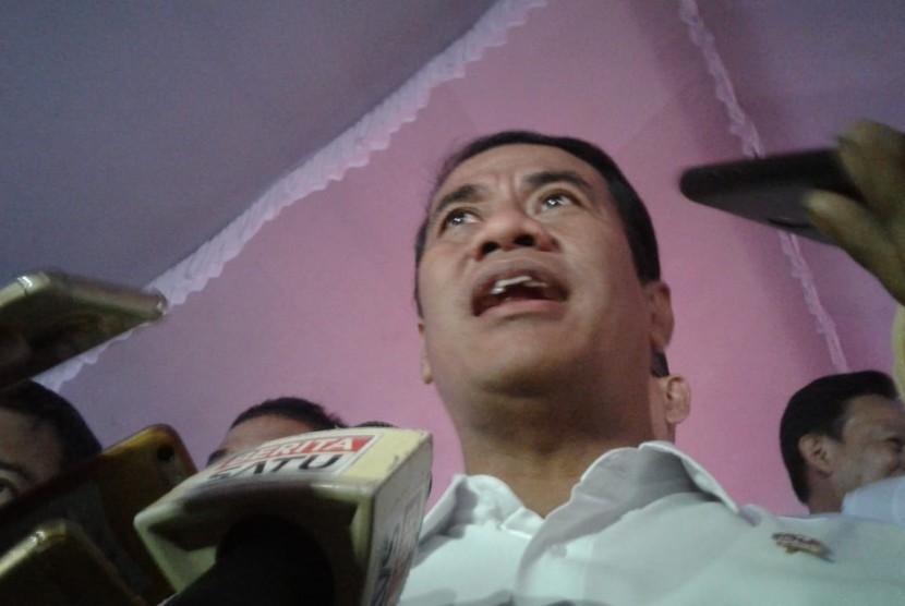 Menteri Pertanian Andi Amran Sulaiman saat melakukan kunjungan kerja ke Kabupaten Garut, Jawa Barat, Kamis (21/3).