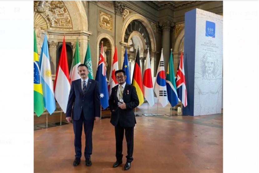 Menteri Pertanian (Mentan) Syahrul Yasin Limpo dalam sambutan pada Open Forum on Sustainable Agriculture, Italia, pada Jumat (17/9). Mentan dorong Kemitraan G20 dan negara-negara Afrika khususnya pencapaian SDGs