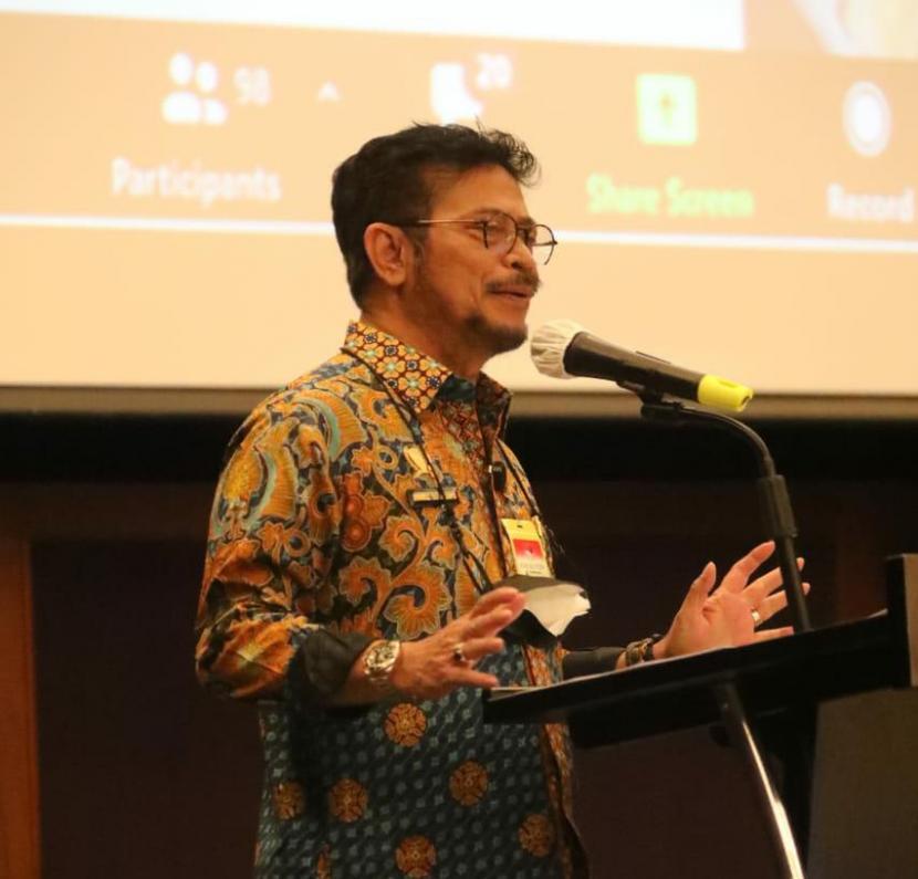 Menteri Pertanian Syahrul Yasin Limpo (Mentan SYL) saat Rapat Kostraling di Jakarta, Jumat (26/2).