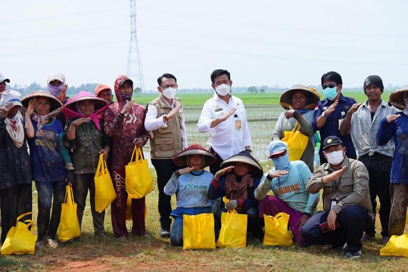 Menteri Pertanian Syahrul Yasin Limpo spontan menyapa petani yang tengah istirahat dipinggir sawah.