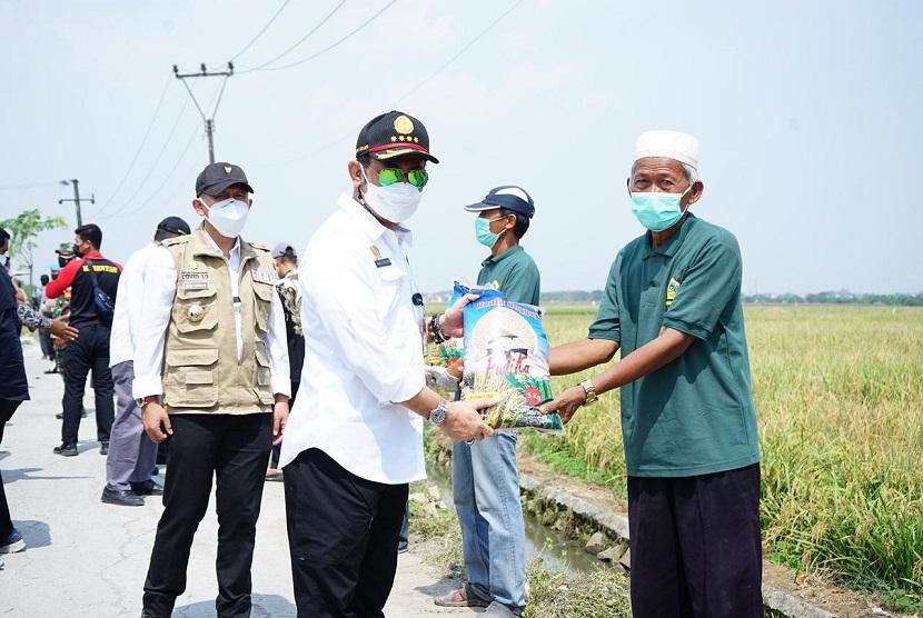 Menteri Pertanian, Syahrul Yasin Limpo (SYL)  saat melakukan monitoring areal persawahan dan panen padi di Desa Suka Asih, Kecamatan Sukatani,Kabupaten Bekasi, Jawa Barat (24/7).
