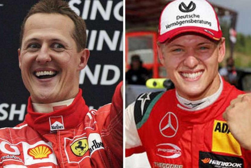 Michael Schumacher dan putranya Mick Schumacker