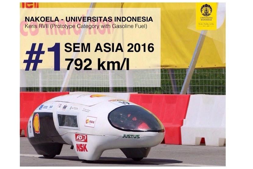 Mobil hemat energi kreasi mahasiswa FT UI.