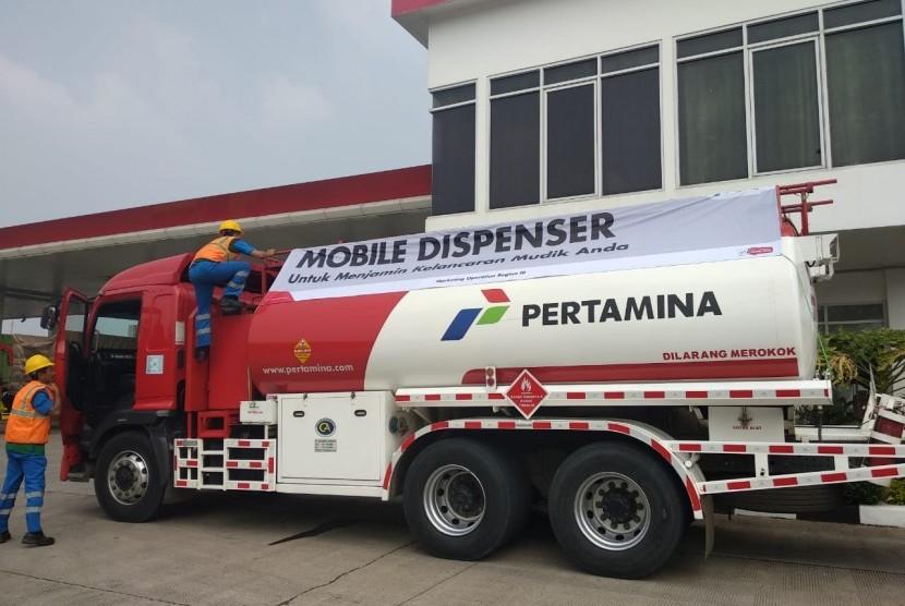 Mobile Dispenser Pertamina yang akan memenuhi kebutuhan BBM masyarakat selama berada di jalur mudik sejak H-7 dan H+7 Lebaran 2018.