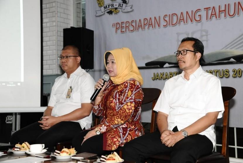 MPR menggelar Media Expert Meeting khusus untuk Persiapan Sidang Tahunan MPR di Jakarta,  Senin (5/8).