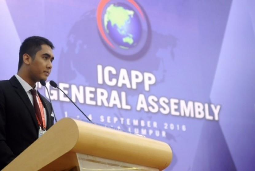 Muhammad Pradana Indraputra saat berpidato di ICAPP 9th General Assambly.