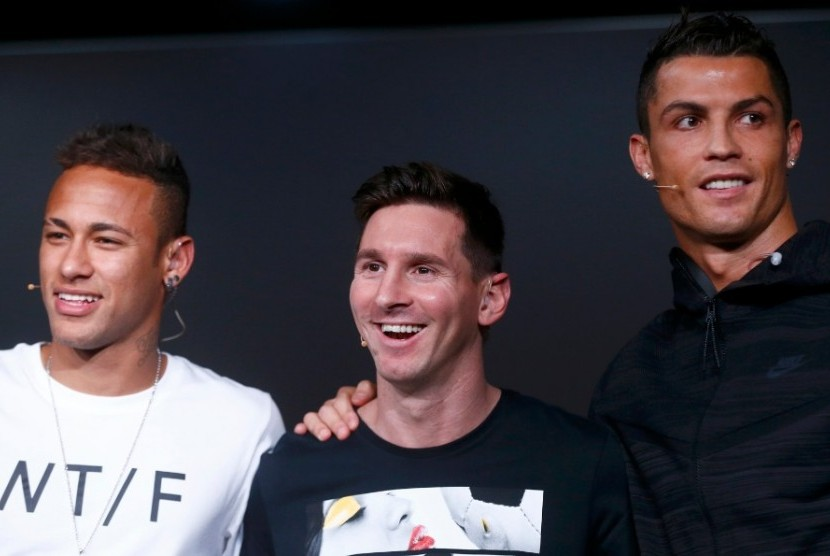 Neymar (kiri), Lionel Messi (tengah) dan Cristiano Ronaldo.