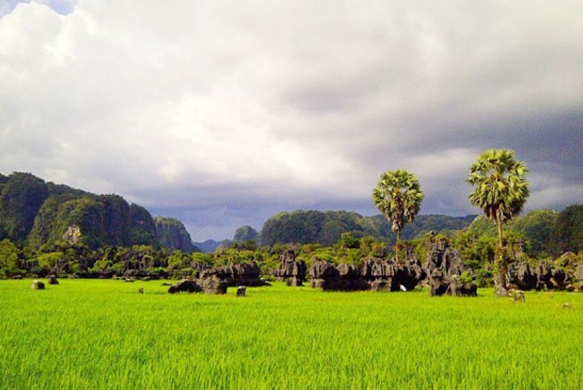 Objek Wisata Rammang-Rammang.